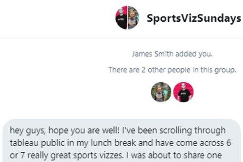 The first ever Sports Viz Sunday message